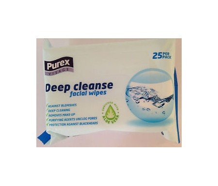 PUREX VISAGE - DEEP CLEANSE FACIAL WIPES - 25 WIPES